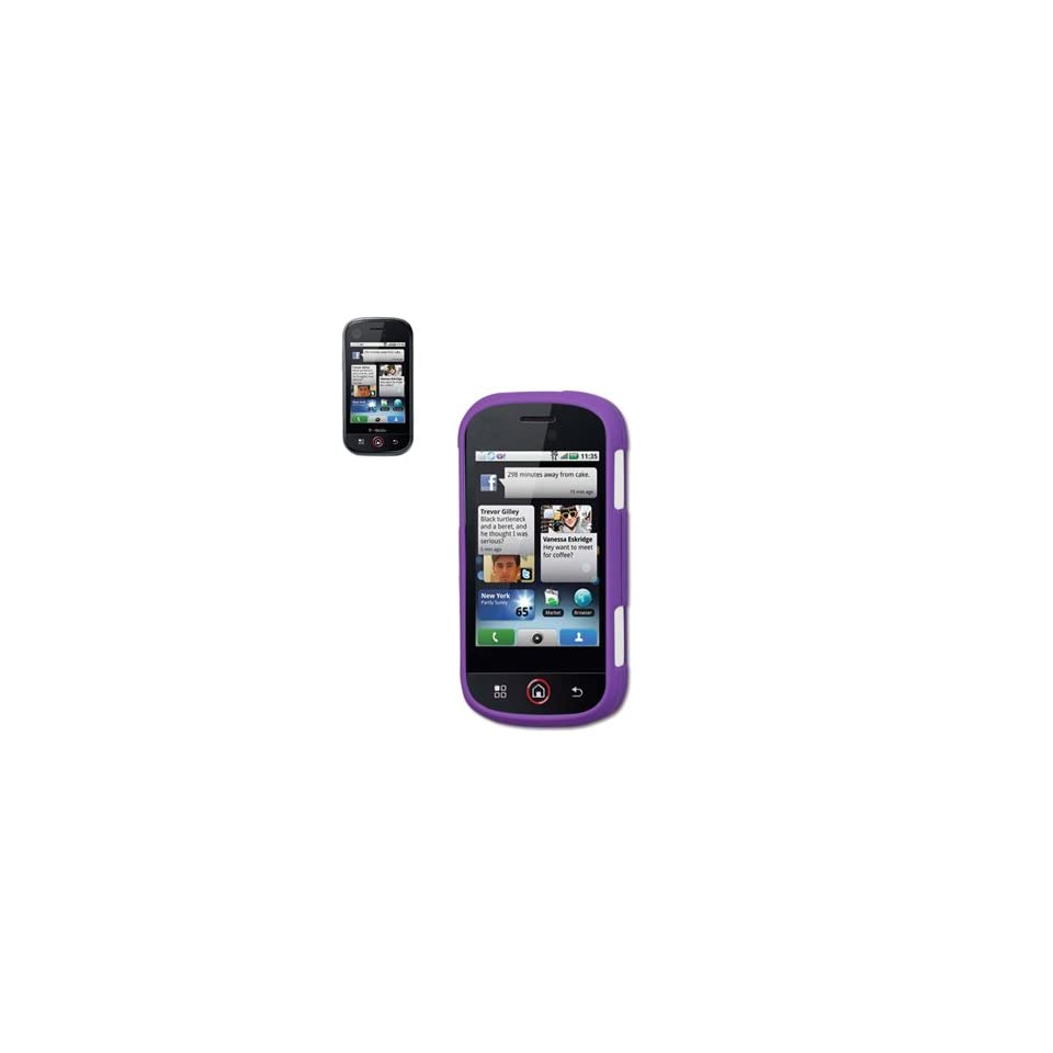 Fashionable Perfect Fit Hard Protector Skin Cover Cell Phone Case for Mororola CLIQ XT Quench T Mobile   PURPLE
