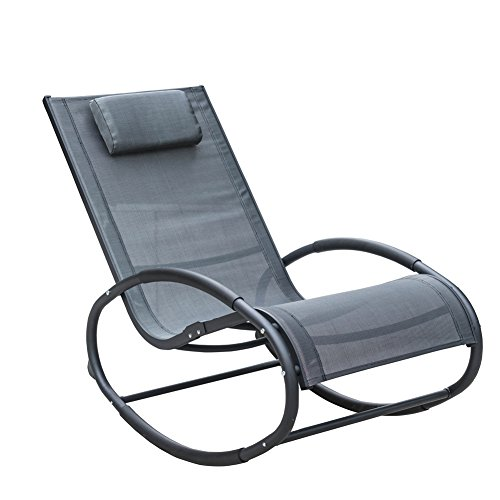 Cheap Sundale Outdoor Patio Aluminum Zero Gravity Chair Orbital Rocking Lounge Chair with Pillow Wave Rocker, Capacity 250 Pounds,Grey