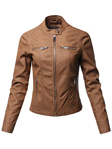 Awesome21 Causal Long Sleeves Faux Leather Biker Stlye Jacket Camel Size L