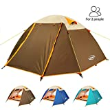 ZOMAKE Lightweight Backpacking Tent 2 Person - 4 Season Waterproof Camping Tent (Brown)