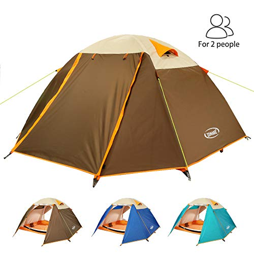 (ZOMAKE Lightweight Backpacking Tent 2 Person - 4 Season Waterproof Camping Tent (Brown))
