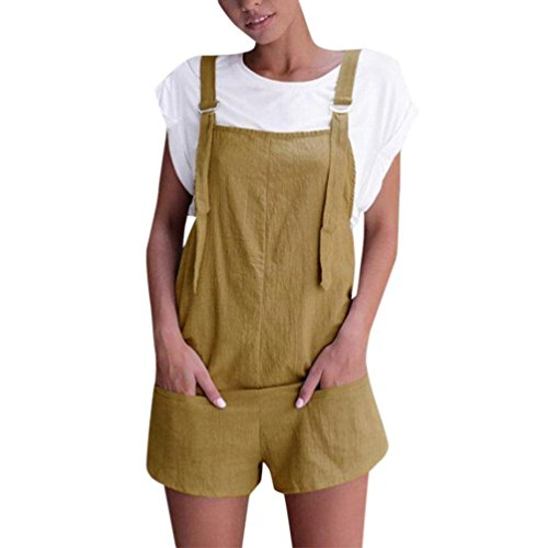 Women Overalls and Jumpers Elastic Waist Dungarees Linen Cotton Pockets Rompers Jumpsuit Denim Shorts Pants (Khaki, M)