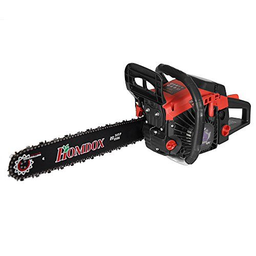 Homdox 58 CC 2 Strokes Gas Powered Chainsaw Handed Gas Chainsaw 20 Inch with 2 Chains, Tool Bag by Homdox