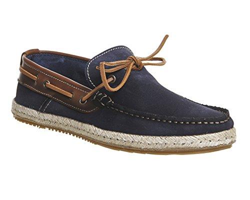 Unbekannt - Zapatillas para hombre Navy Suede Tan Leather