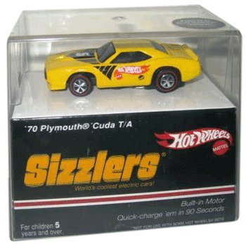 Sizzlers Hot Wheels Yellow '70 Plymouth 'Cuda (Barracuda) T/A. Built-in motor. Quick charge them in 90 seconds. Charger sold separately. Sizzler Cars - World's coolest electric cars! 2006 release.