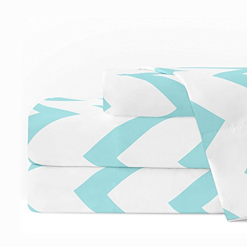 Cotton Egyptian Cotton Print (Egyptian Luxury 1600 Series Hotel Collection Chevron Pattern Bed Sheet Set - Deep Pockets, Wrinkle and Fade Resistant, Hypoallergenic Sheet and Pillowcase Set - Twin - White/Aqua)