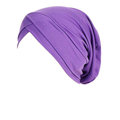 LEXUPA Women Muslim Ruffle Cancer Chemo Hat Beanie Scarf Turban Head Wrap Cap (One -