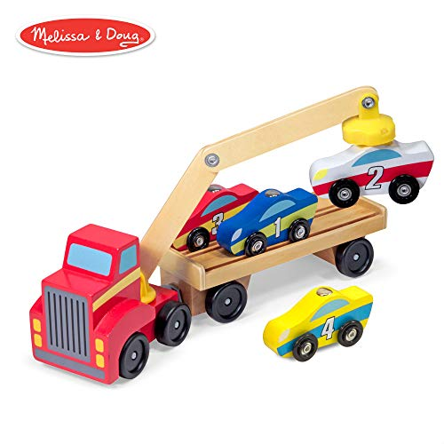 Melissa & Doug Magnetic Car Loader Wooden Toy Set, Cars & Trucks, Helps Develop Motor Skills, 4 Cars and 1 Semi-Trailer Truck, 5.75