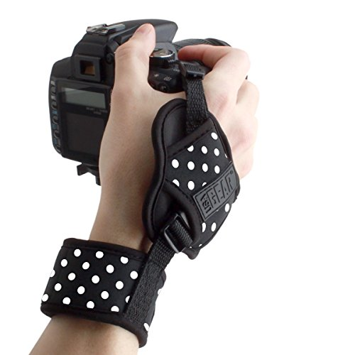 Professional Camera Grip Hand Strap with Polka Dot Padded Neoprene Design and Metal Plate by USA Gear - Works with Canon, Fujifilm, Nikon, Sony and More DSLR, Mirrorless, Point & Shoot Cameras