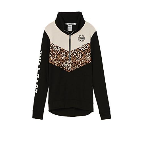 1921d038f408b delicate Victoria's Secret PINK High/Low Half Zip Sweatshirt Black ...