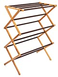 BirdRock Home Folding Steel Clothes Drying Rack | 3 Tier | Water-Resistant Bamboo Wood | Fully Assembled Collapsible Dry Rack | Walnut (Brown)