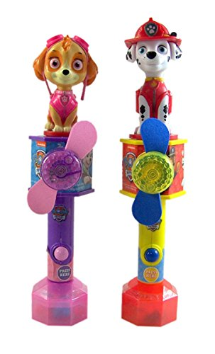 Paw Patrol Marshall and Skye Toy Fans With Candy, Pack of 2