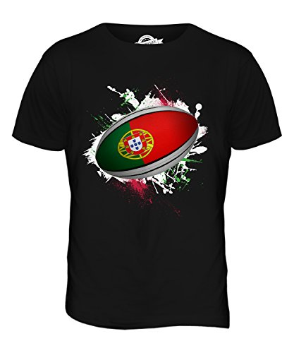 CandyMix Men's Portugal Rugby Ball Splatter T Shirt T-Shirt Top, Size Medium, Color - From Portugal Men