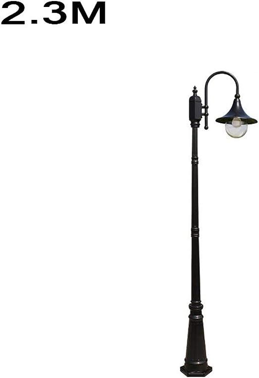 Pumnple P54 Negro Victorian 2,3 M tradicional jardín al aire libre poste de la lámpara Baliza top del alto linterna luz Calificación de aluminio impermeable Camino Farola apropiado for la cubierta Com: