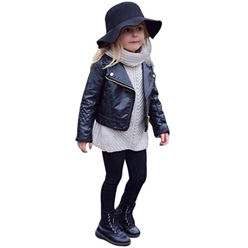 Tronet Kids Infant Toddler Baby Girls Autumn Coats Leather Jacket Outerwear Warm Thick Clothes Outfits (90(Aged 1-2 (Fur Leather Coat)