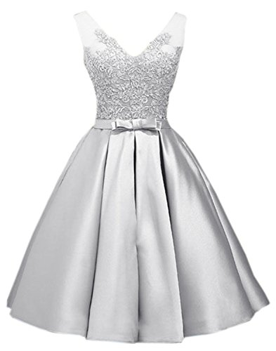 Cocktail Beaded Homecoming Womens Lace Applique Sarahbridal X LX418 Gowns gray Short Dresses x6R0FwqUq