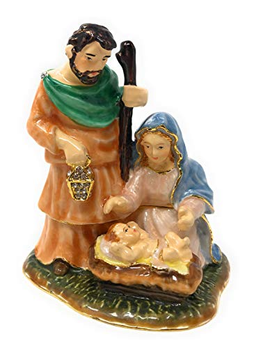 Kubla Crafts Enameled Nativity Holy Family Trinket Box, Accented with Austrian Crystals, 2.75 Inches Tall