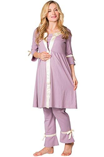 Sweet Mommy Maternity and Nursing Satin Piping Pajama Set