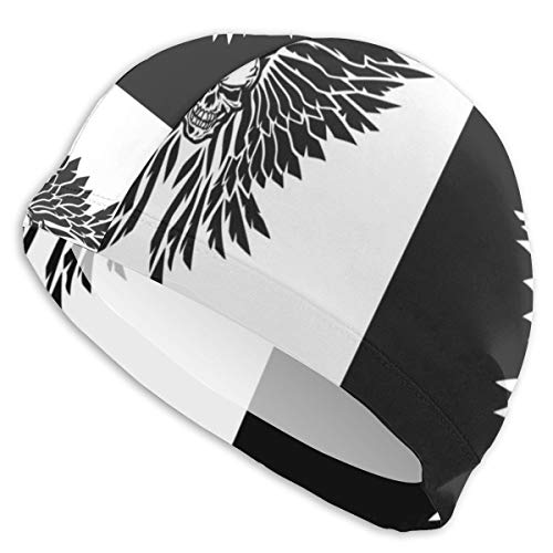 (Lxmn Classic Skull and Wings in Both Black and White Versions Swim Cap Swimming Caps Unisex Bathing Caps Swimming Hat Bathing Diving Cap)
