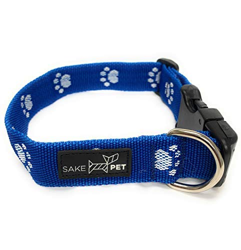 Sake Pet Nylon Dog Collar with Dog Tag and Fun Paw Print Design, Adjustable Collar, Ocean Blue, Large