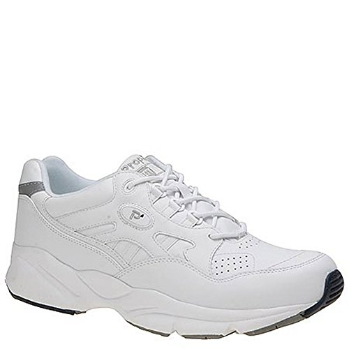 Propét Mens Stability Walker Leather Low Top Lace Up Walking, White, Size 13.0
