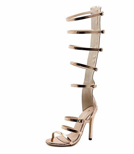 De Nuevas Encantadoras Las Gold Correas De La Huecas Verano 2018 Botas Tacón Rodilla Sobre Sandalias Moda De Mujeres Alto q7wg06