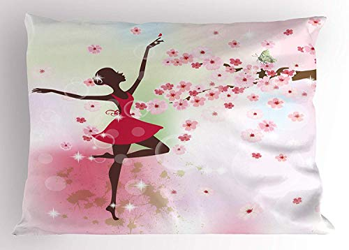- Ustcyla Kids Pillow Sham, Butterfly Fairy Ballerina Princess Dancer Floral Tree Branch Floral, Decorative Standard Queen Size Printed Pillowcase, 30 X 20 inches, Light Pink Magenta Dried Rose