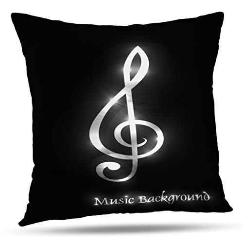 KJONG Music Theme Wallpaper Square Decorative Pillow Case 18 x 18 inch Pillow Cover for Bedroom Living Room Musical Theme Disco with Circles and Splash Music Jazz (Two Sides Print) - Music Jazz Classical Elements