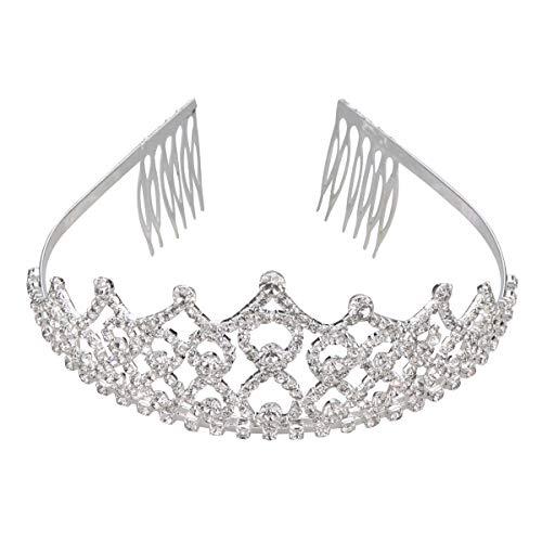 Thmyo Rhinestones Crystal Wedding Bridal Pageant Hair Jewelry Princess Tiara Crown Birthday Headband (Silver)