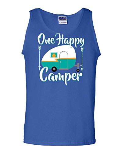 Tee Hunt One Happy Camper Tank Top Camping Roadtrip RV Trailer Sleeveless Blue XL