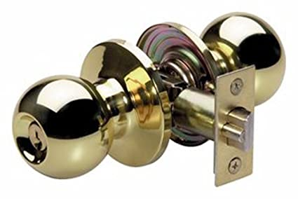 Master Lock BAO0103 Ball Keyed Entry Door Knob, Polished Brass