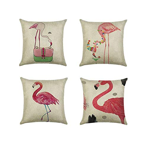 Pillow Cover Flamingo Print Cotton