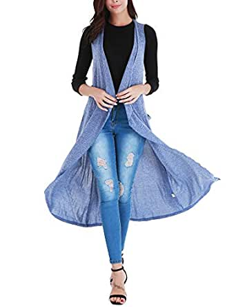 Uniboutique Women's Long Open Front Asymmetrical Cardigan Vest with Pockets and Belt Blue M