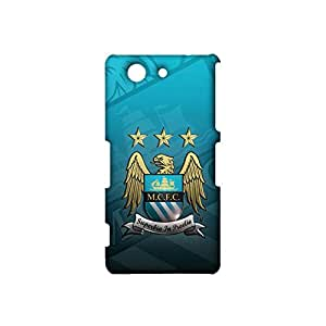 3d Manchester Logo Phone Case, Primera Division De Liga Classic Offical Style Manchester City FC Logo Hard Case 3D Superbia In Proelio MCFC Logo Design for Sony Xperia Z3 Compact