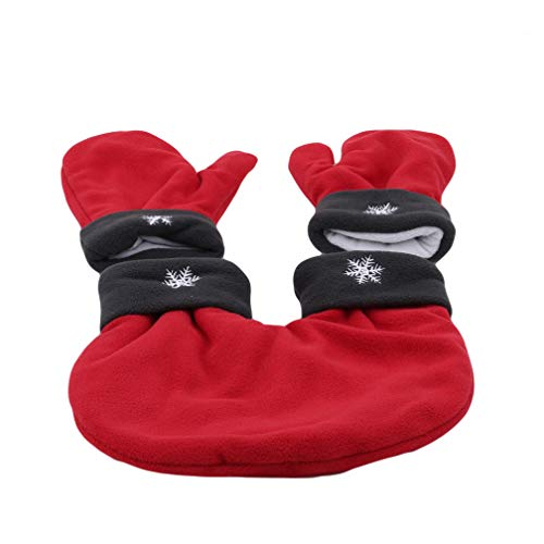 LJSLYJ 3pcs/Set Couple Lovers Gloves Polar Fleece Sweethearts Thicken Winter Warm Lining Glove Christmas Gift Lovers Mittens,Red