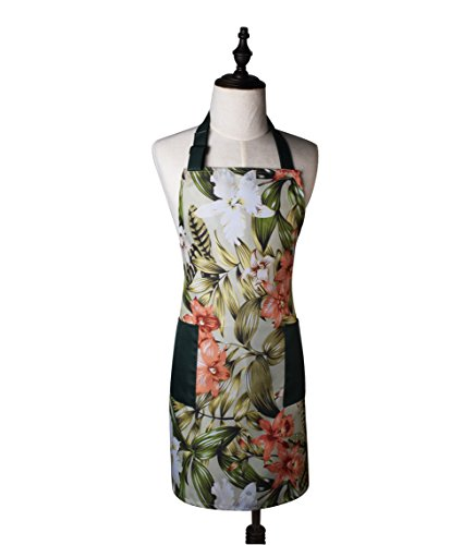 Tree Leaves Flowering Natura Art Pattern Adjustable Home Kitchen Cooking Apron with Pockets for Women and Men, Green