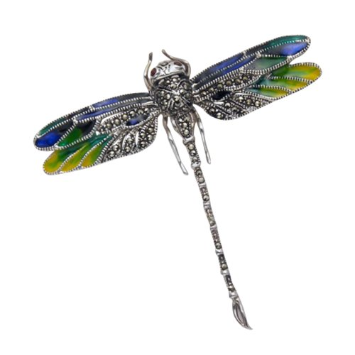 Sterling Silver Marcasite Dragonfly Pin w/Multi Color Enameled Wings & Burgundy Crystal Eyes by Wild Things