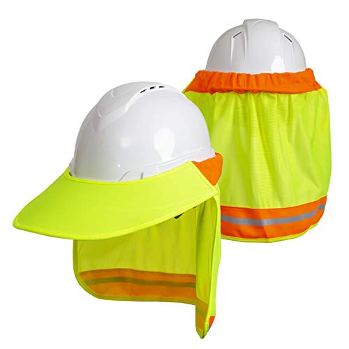 - Hard Hat Neck Sun Shade With Visor - Reflective Stripe - High Visibility and Elastic for Safety Hard Hat Helmets One Size Fits All - Yellow