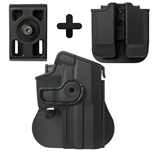 (IMI Defense Tactical Kit Roto Retention Paddle Holster + Double Magazine Pouch + Belt Holster Attachment For H&K USP Full-Size (9mm/.40))