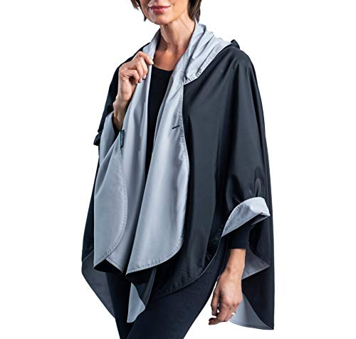 0f7cd6df3 RainCaper Rain Poncho for Women - Reversible Rainproof Hooded Cape in  Gorgeous Ultrasoft Colors (Black & Pewter)