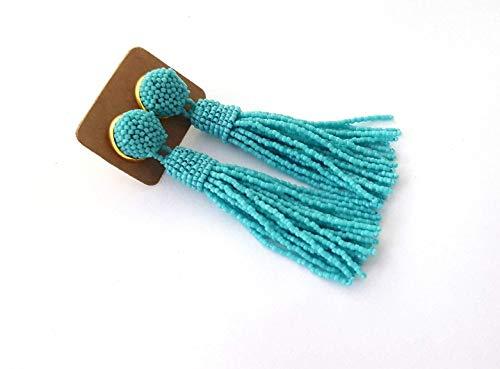 (Turquoise Beaded Tassel Earrings Long Drop Gift For Her Seed Beads Post)