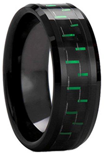 Black Plated Tungsten Carbide Black Green Carbon Fiber Inlay Men's Ring Wedding Band ()