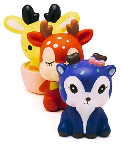 Super Slow Rising Squishies Pack. Squishy Jumbo Deer Set of 3. Large Soft Scented Cute Kawaii, Colorful Animal Stress Relief Toy for Kids and Adults. Amazing Squeeze Toys