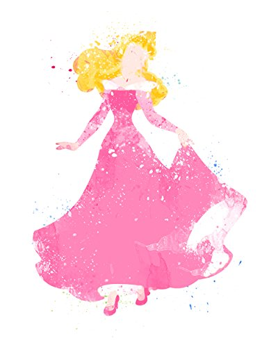 Aurora Sleeping Beauty Disney Princess Watercolor Photo Prints - Unique Kids Wall Art