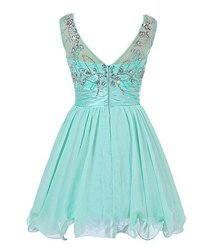 Green Bess Prom Chiffon Dresses Homecoming Bridal Lime V Back Women s Beaded Short rCqrH7