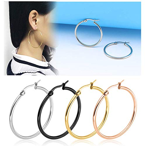- Fashion Big Smooth Circle Hoop Earrings for Women 10 75mm Stainless Steel Round Statement Earrings Party Girl Gift Jewelry,Black,10mm