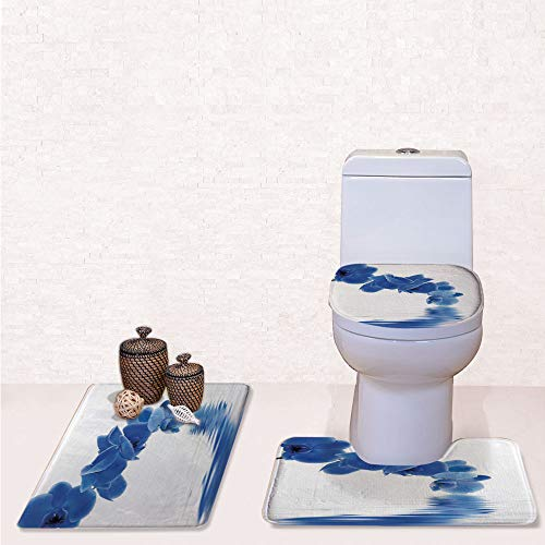 Print 3 Pieces Bathroom Rug Set Contour Mat Toilet Seat Cover,Orchid Corsage Composition with Reflection in Water Zen Decor Bridal Garden with Violet Blue White,decorate bathroom,entrance door,kitche