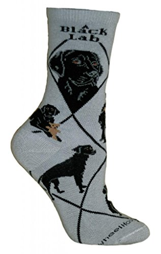 Wheelhouse Designs Black Lab On Gray Socks, ()