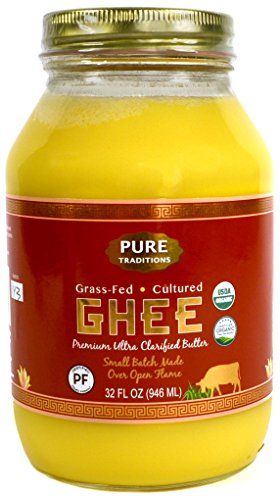 100% Organic Grass-Fed Cultured Ghee, Certified Paleo (32 oz)