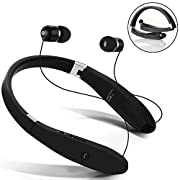 #LightningDeal 87% claimed: Bluetooth Headphones, Dostyle Wireless V4.1 Bluetooth Headset Neckband Foldable Sweatproof with Retractable Earbuds and Mic for iPhone, iPad, Samsung, Nexus, HTC and More (Black)